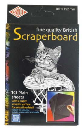 Scraperboard black/white 101x152mm + cutter