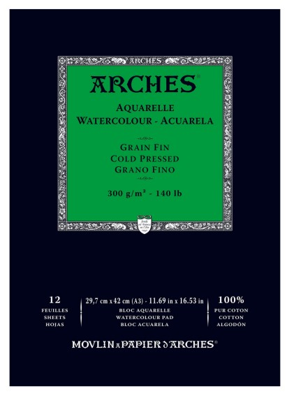 Arches 300g A3 (12) 100% cotton half rough