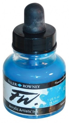 FW Artists Acrylic Ink 30ml, 100 Fluorescent blue
