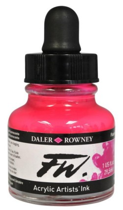 FW Artists Acrylic Ink 30ml, 538 Fluorescent pink