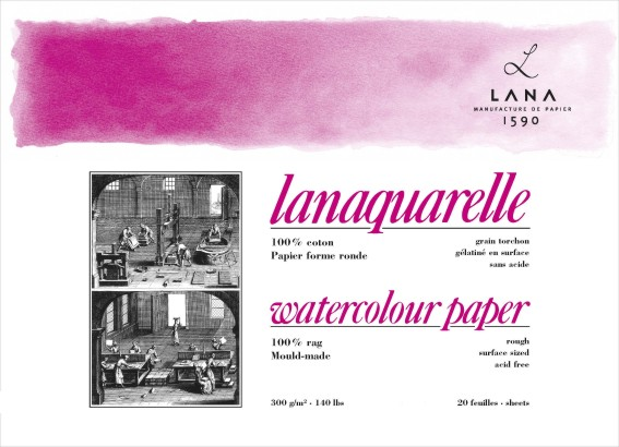 Lana watercolor pad 31x41 (20) 300g 100% cotton rouch