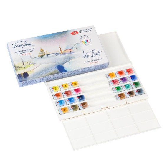 White Nights Watercolour set 24 pan plastic box