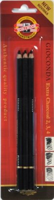 Black charcoal pencil Kohinor No 2, 3, 4